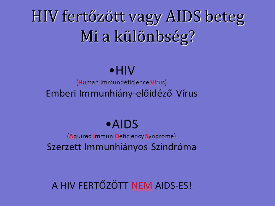 HIV fertőzött vagy AIDS beteg Mi a különbség