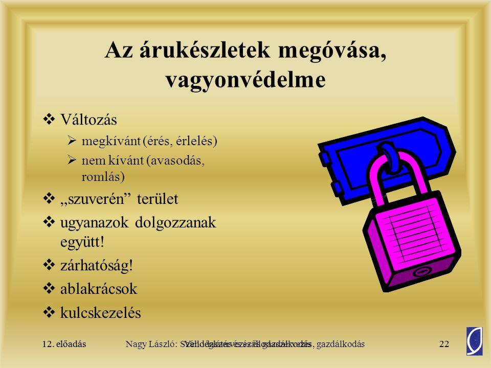 Az árukészletek megóvása, vagyonvédelme
