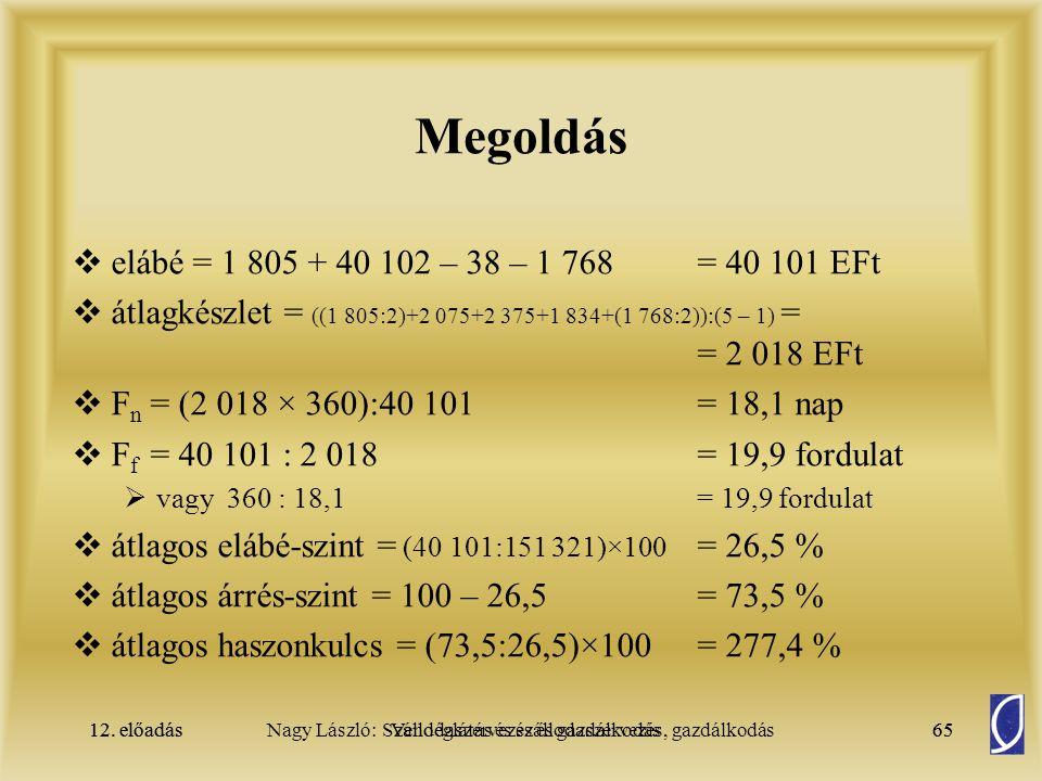 Megoldás elábé = 1 805 + 40 102 – 38 – 1 768 = 40 101 EFt
