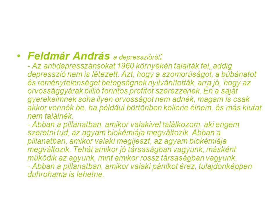 Feldmár András a depresszióról: - Az antidepresszánsokat 1960 környékén találták fel, addig depresszió nem is létezett.