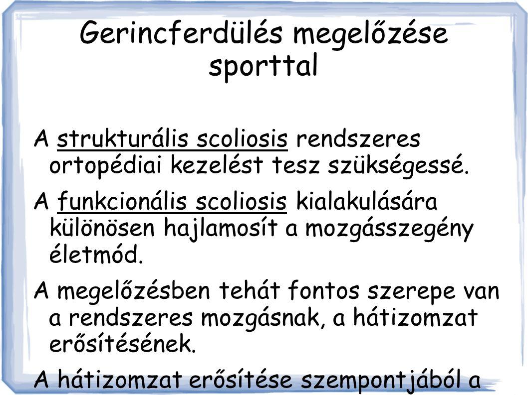 Gerincferdülés megelőzése sporttal