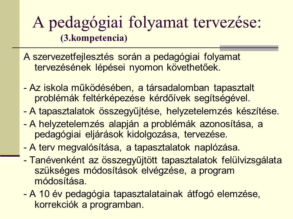 A pedagógiai folyamat tervezése: (3.kompetencia)