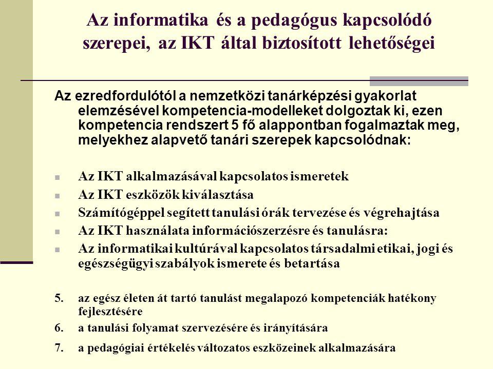 Az informatika és a pedagógus kapcsolódó szerepei, az IKT által biztosított lehetőségei