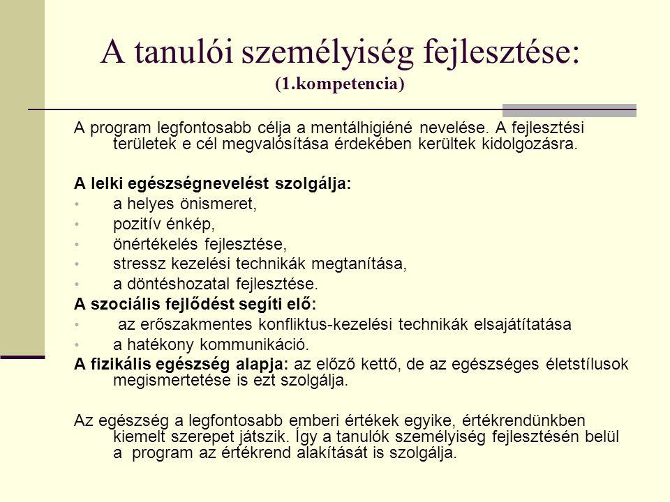 A tanulói személyiség fejlesztése: (1.kompetencia)