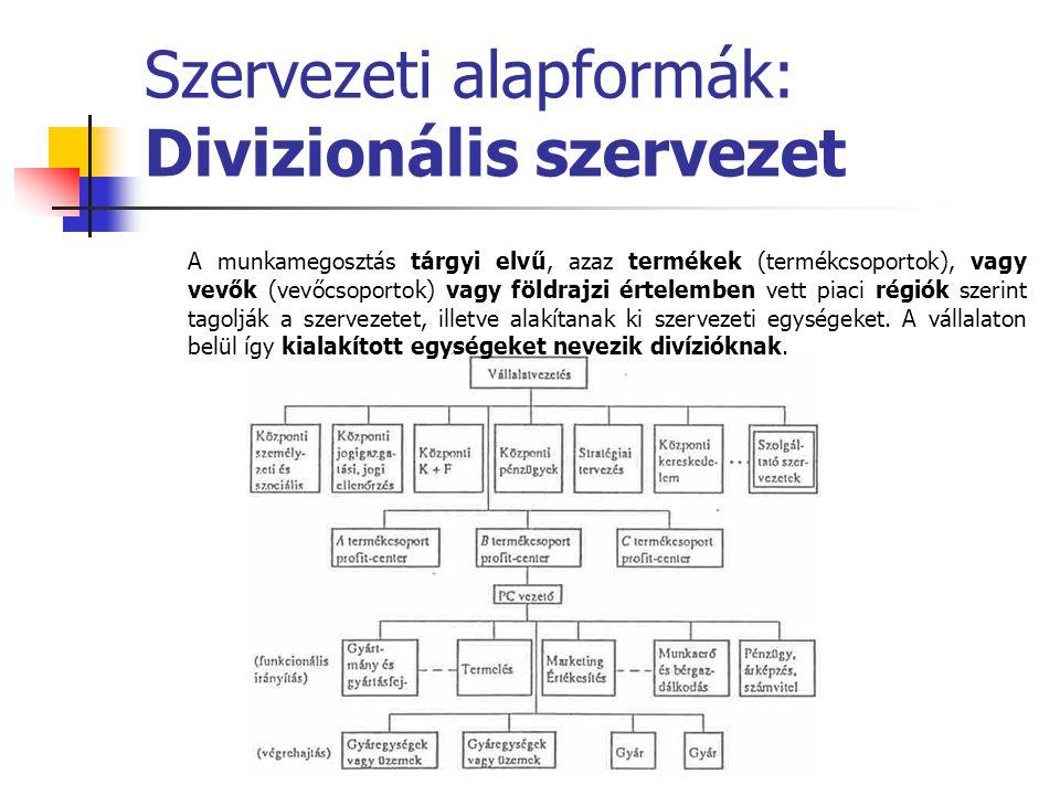 Szervezeti alapformák: Divizionális szervezet