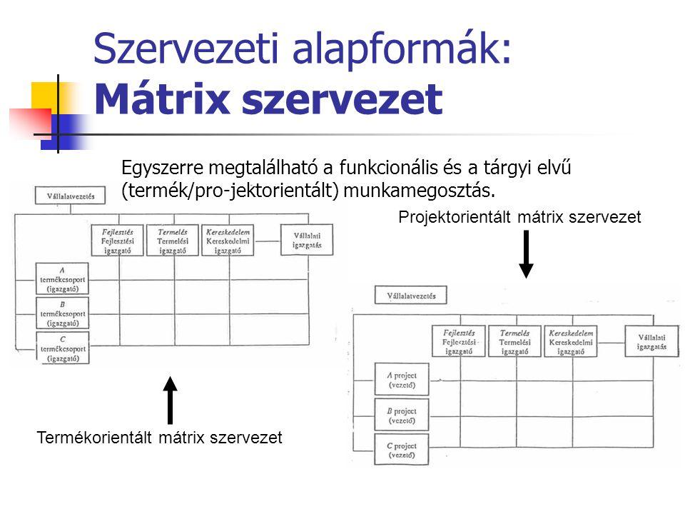 Szervezeti alapformák: Mátrix szervezet