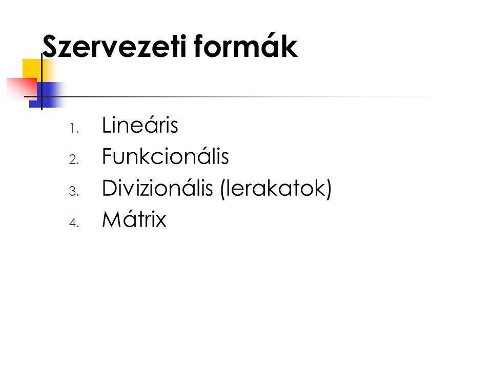 Szervezeti formák Lineáris Funkcionális Divizionális (lerakatok)