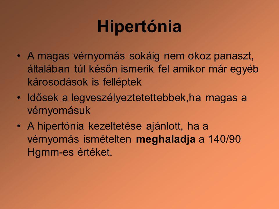 Hipertónia A magas vérnyomás sokáig nem okoz panaszt, általában túl későn ismerik fel amikor már egyéb károsodások is felléptek.
