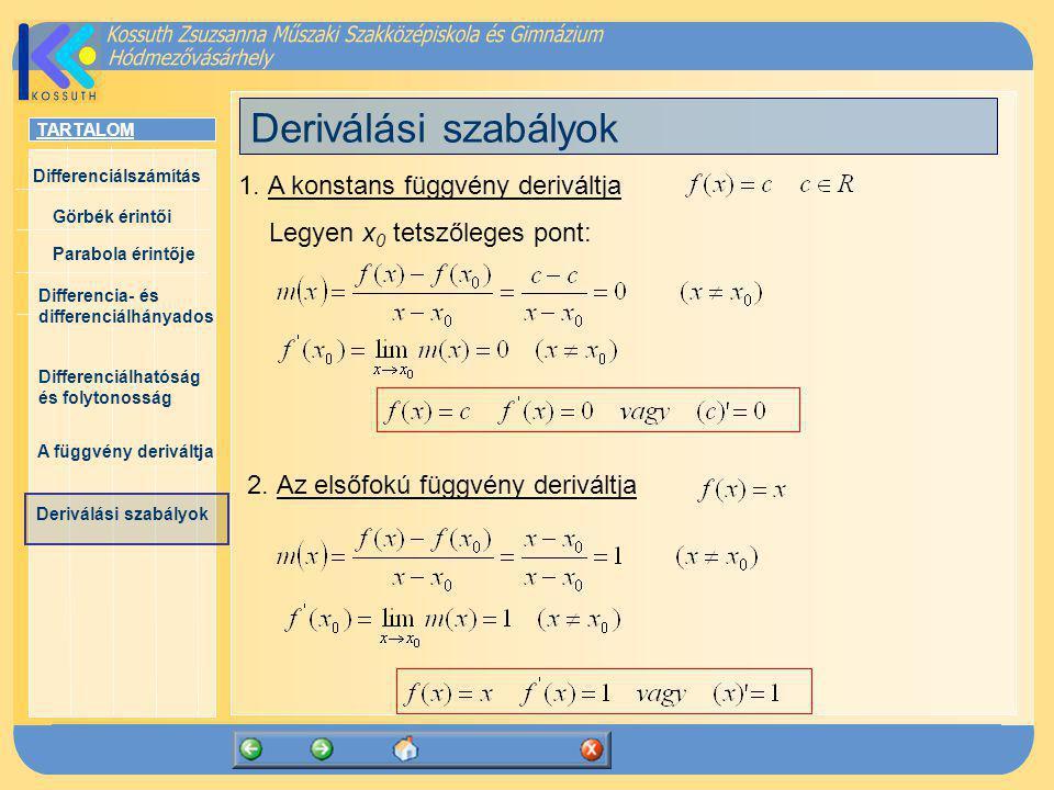 Deriválási szabályok 1. A konstans függvény deriváltja