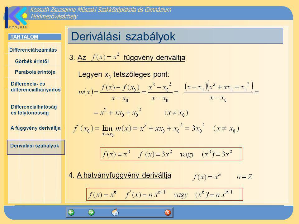 Deriválási szabályok 3. Az függvény deriváltja