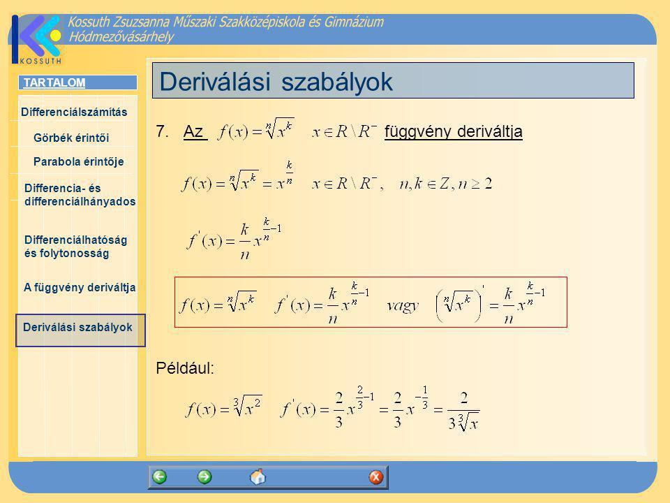 Deriválási szabályok 7. Az függvény deriváltja Például: