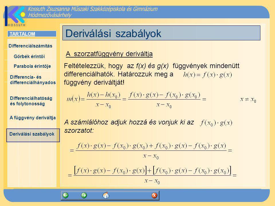 Deriválási szabályok A szorzatfüggvény deriváltja