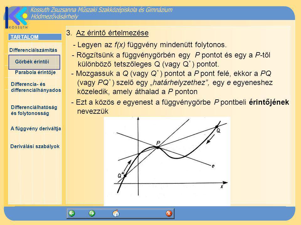3. Az érintő értelmezése - Legyen az f(x) függvény mindenütt folytonos.