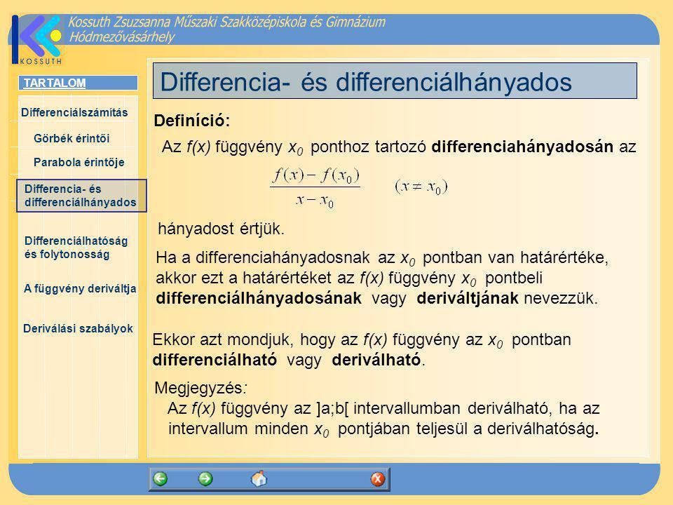 Differencia- és differenciálhányados