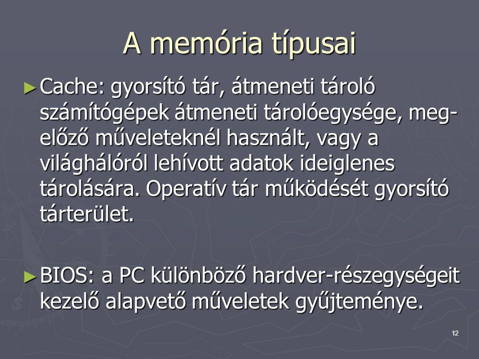 A memória típusai