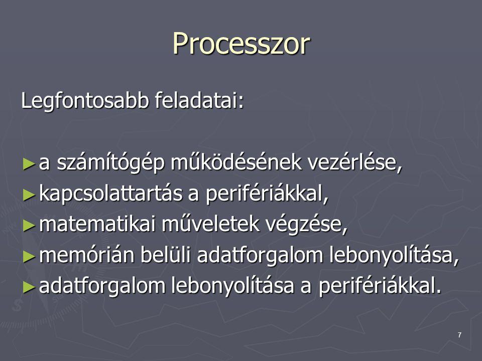 Processzor Legfontosabb feladatai: a számítógép működésének vezérlése,