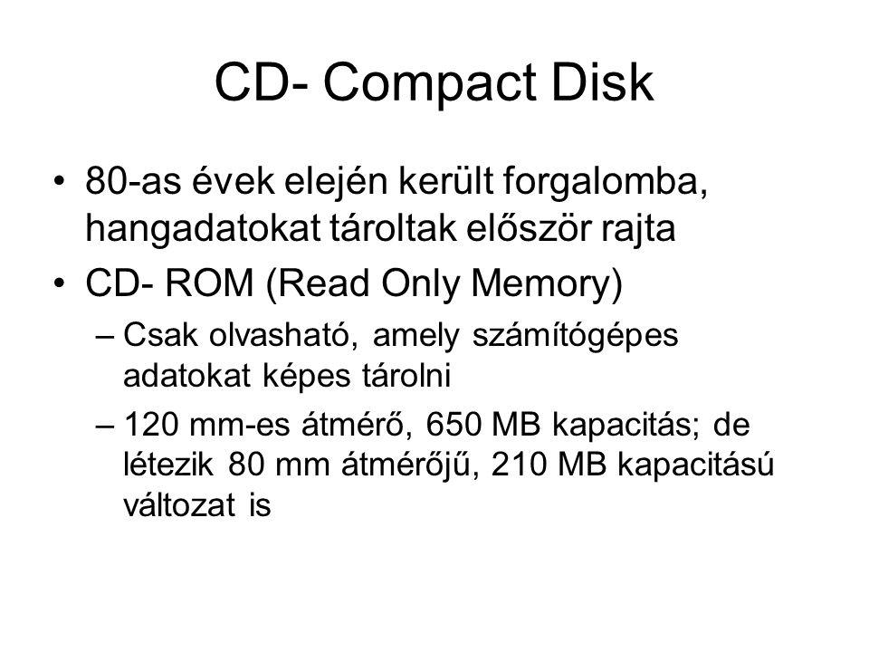 CD- Compact Disk 80-as évek elején került forgalomba, hangadatokat tároltak először rajta. CD- ROM (Read Only Memory)