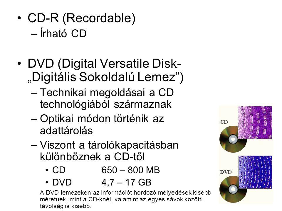 "DVD (Digital Versatile Disk- ""Digitális Sokoldalú Lemez )"