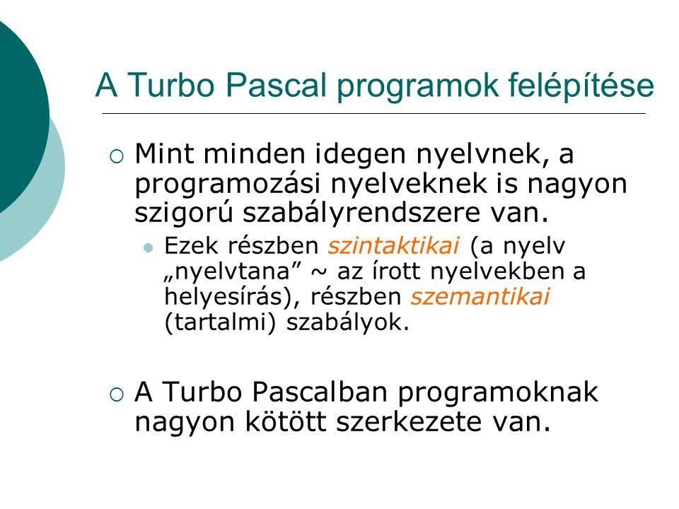 A Turbo Pascal programok felépítése