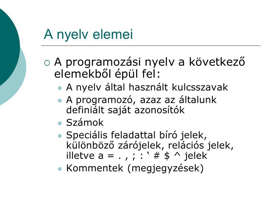 A nyelv elemei A programozási nyelv a következő elemekből épül fel: