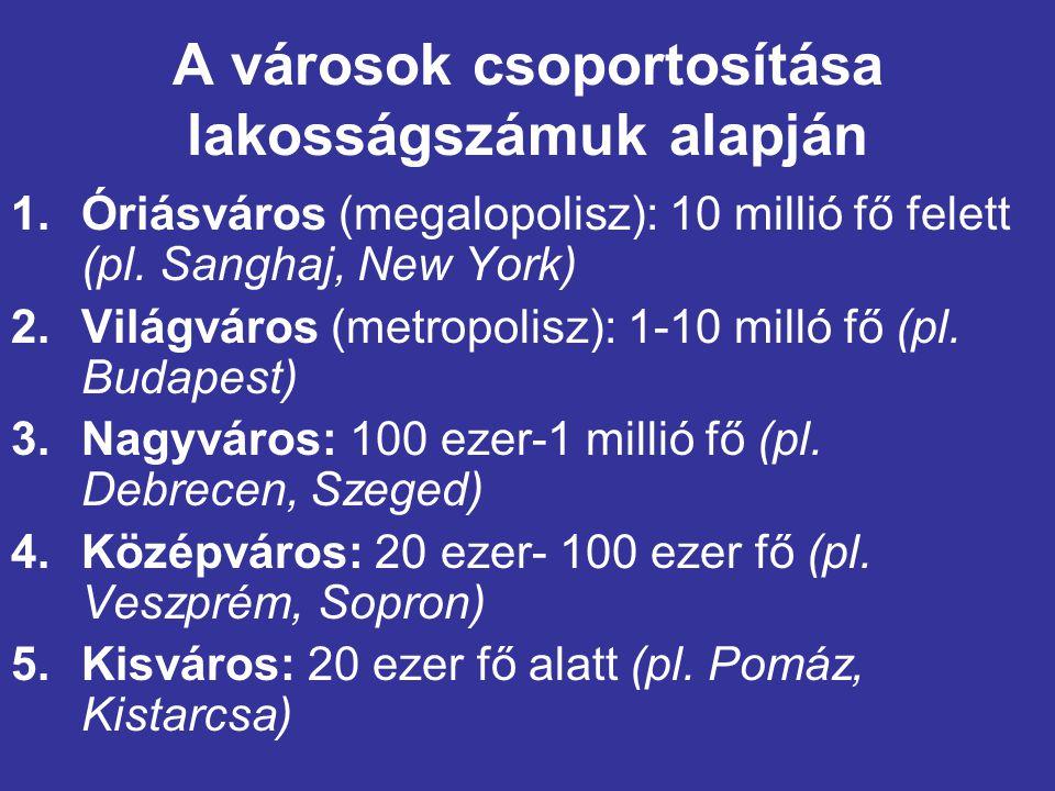 A városok csoportosítása lakosságszámuk alapján