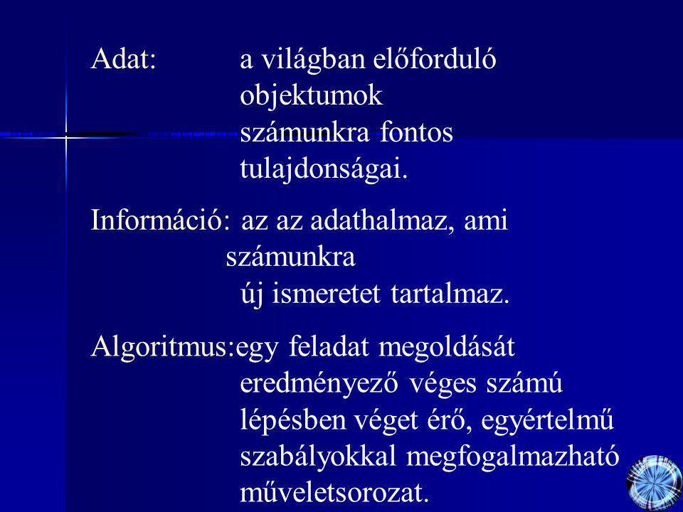Adat: a világban előforduló objektumok számunkra fontos tulajdonságai.