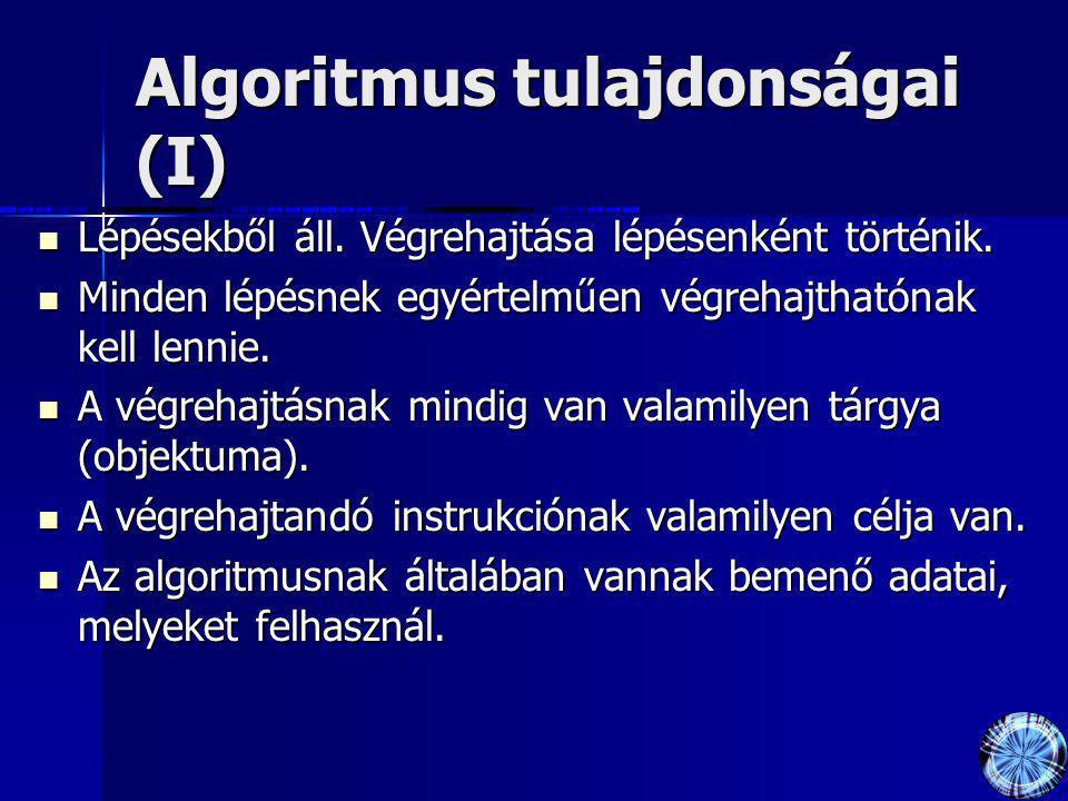 Algoritmus tulajdonságai (I)
