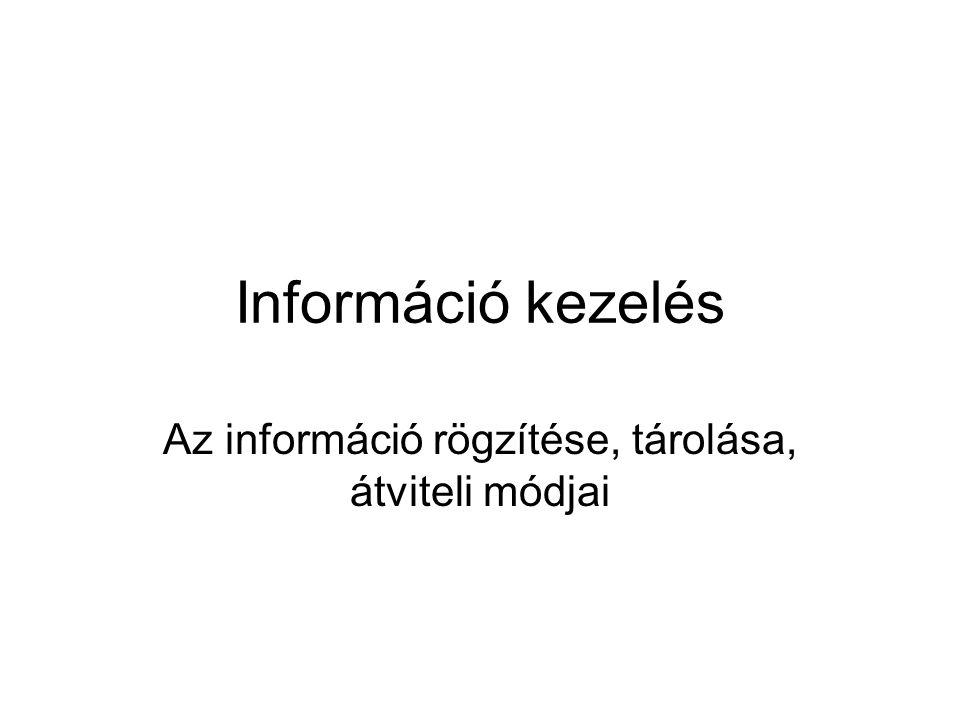 Az információ rögzítése, tárolása, átviteli módjai