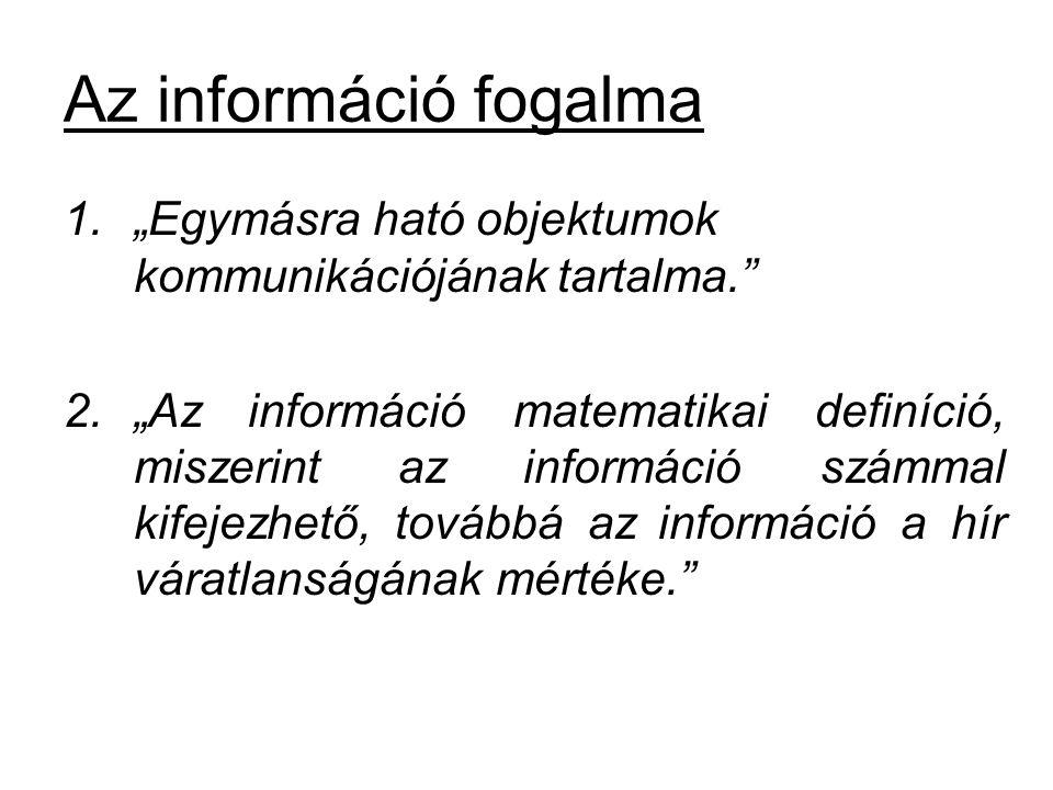 """Az információ fogalma """"Egymásra ható objektumok kommunikációjának tartalma."""