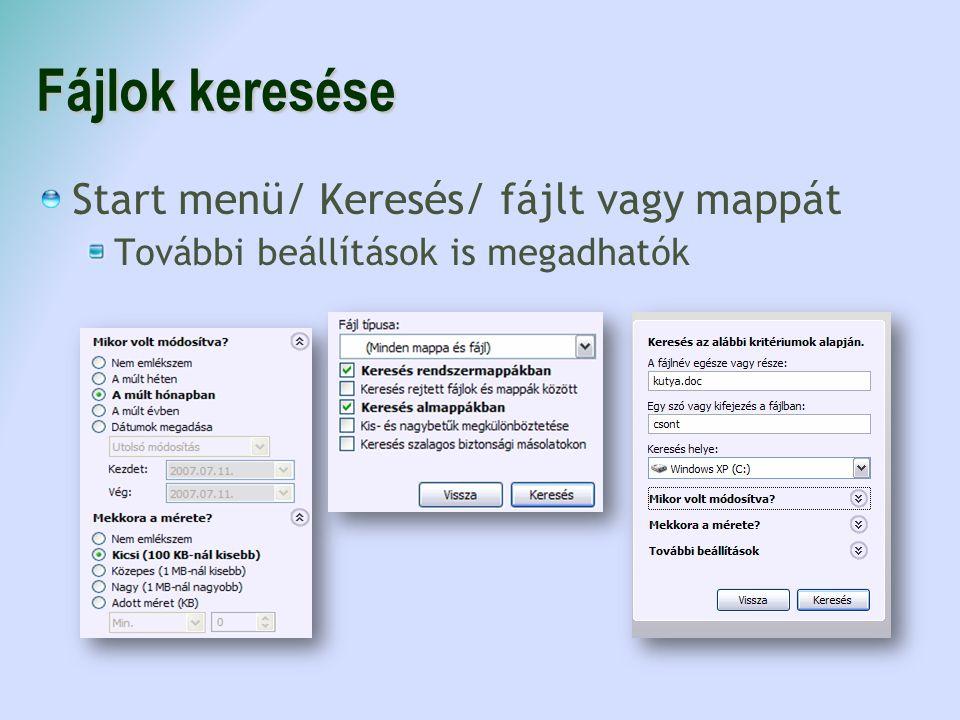 Fájlok keresése Start menü/ Keresés/ fájlt vagy mappát