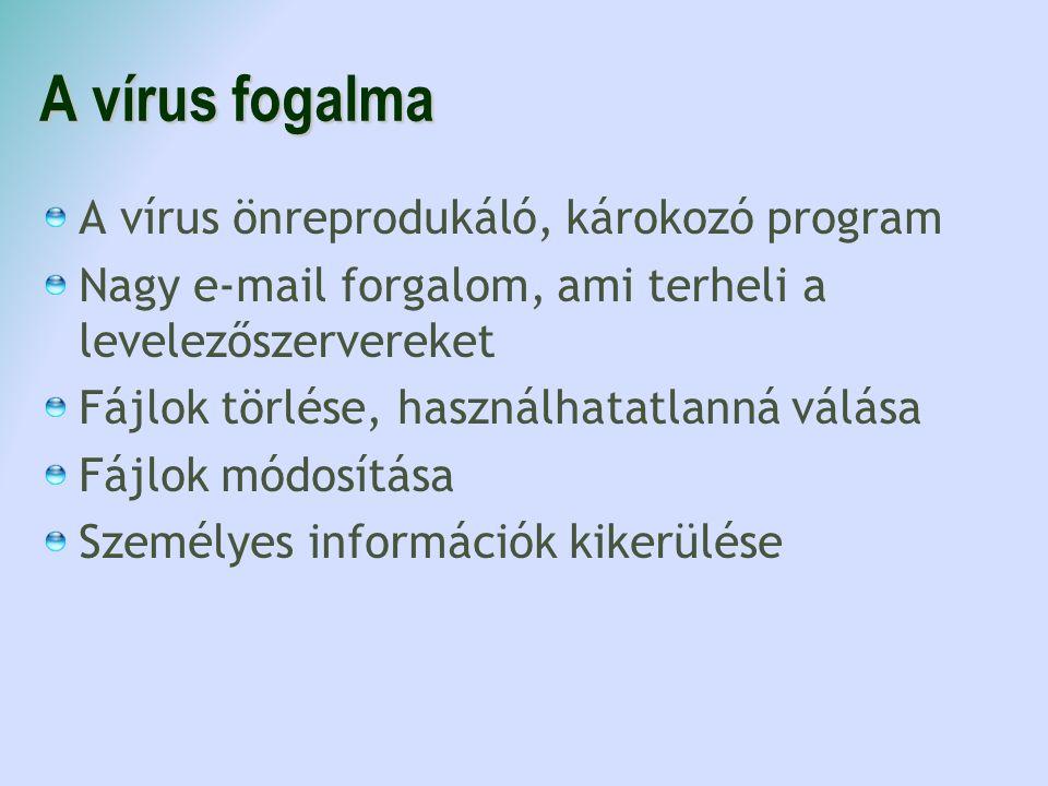 A vírus fogalma A vírus önreprodukáló, károkozó program