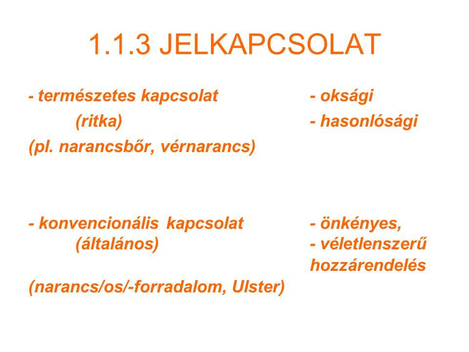 1.1.3 JELKAPCSOLAT (ritka) - hasonlósági (pl. narancsbőr, vérnarancs)