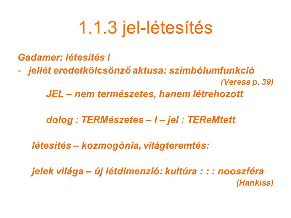 1.1.3 jel-létesítés Gadamer: létesítés !