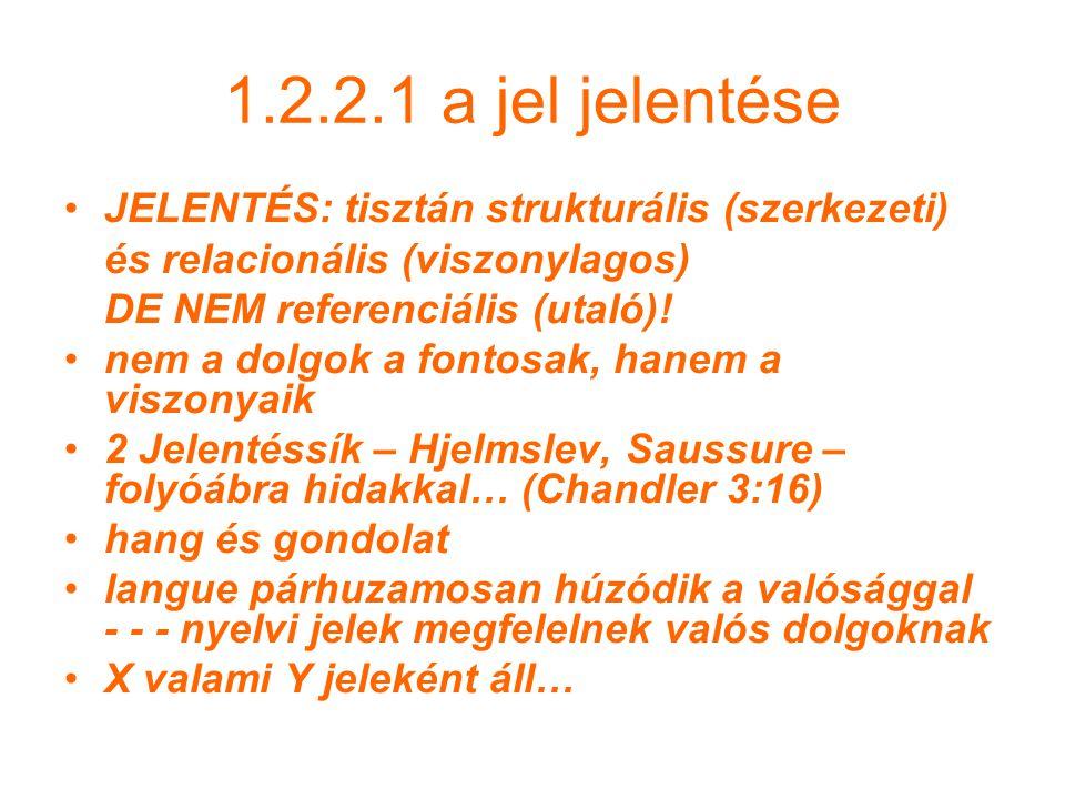 1.2.2.1 a jel jelentése JELENTÉS: tisztán strukturális (szerkezeti)