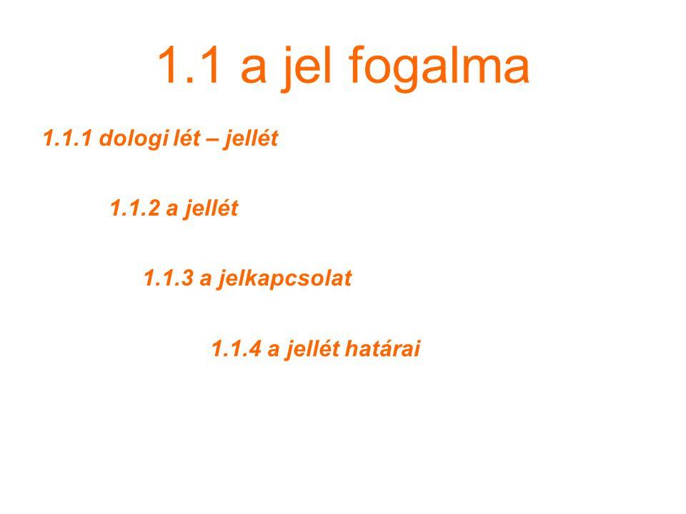1.1 a jel fogalma 1.1.1 dologi lét – jellét 1.1.2 a jellét
