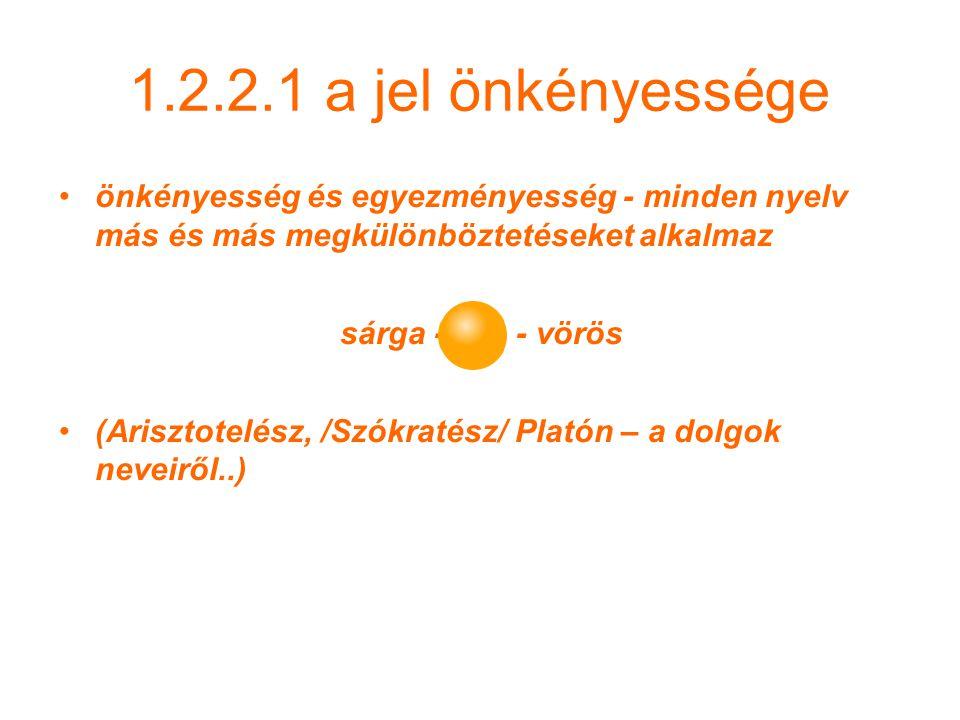 1.2.2.1 a jel önkényessége önkényesség és egyezményesség - minden nyelv más és más megkülönböztetéseket alkalmaz.