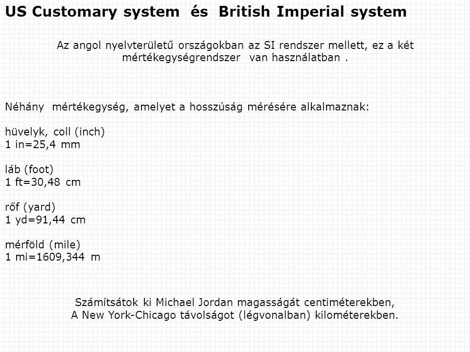US Customary system és British Imperial system