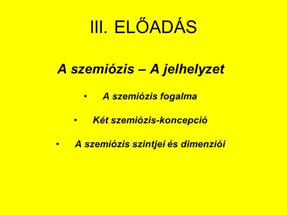 III. ELŐADÁS A szemiózis – A jelhelyzet A szemiózis fogalma