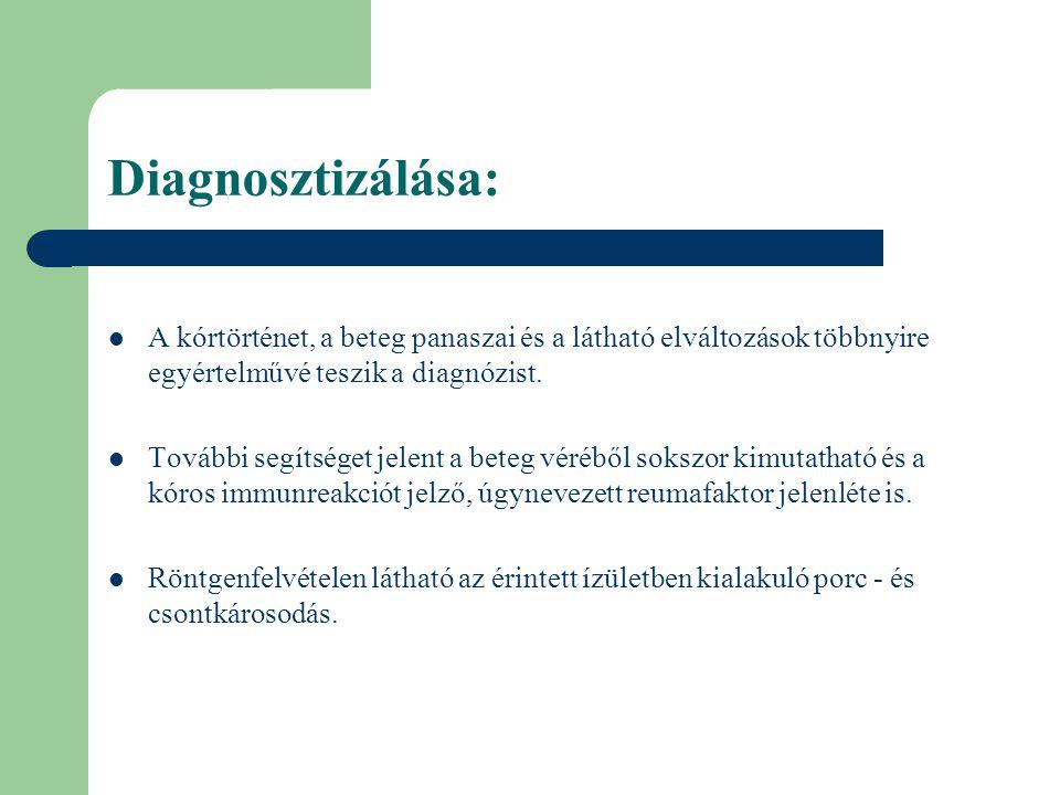 Diagnosztizálása: A kórtörténet, a beteg panaszai és a látható elváltozások többnyire egyértelművé teszik a diagnózist.