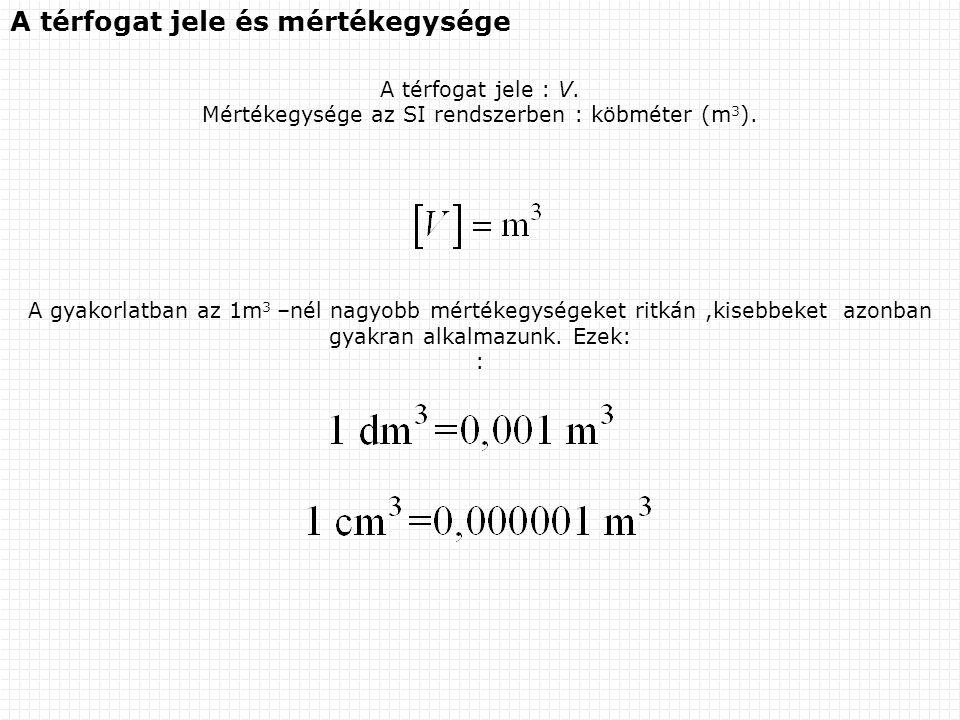 Mértékegysége az SI rendszerben : köbméter (m3).