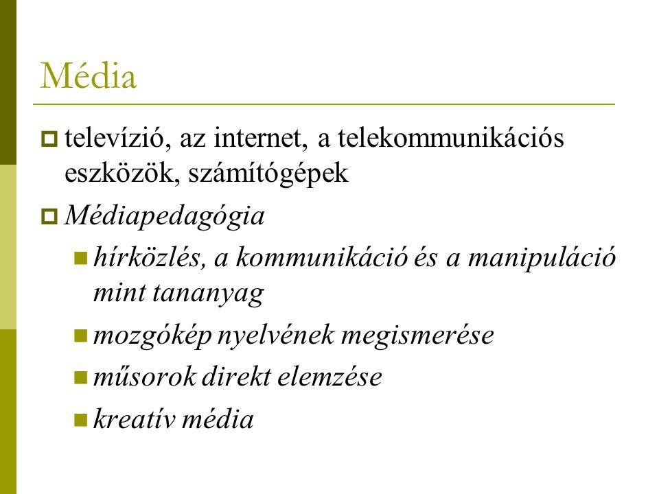 Média televízió, az internet, a telekommunikációs eszközök, számítógépek. Médiapedagógia. hírközlés, a kommunikáció és a manipuláció mint tananyag.