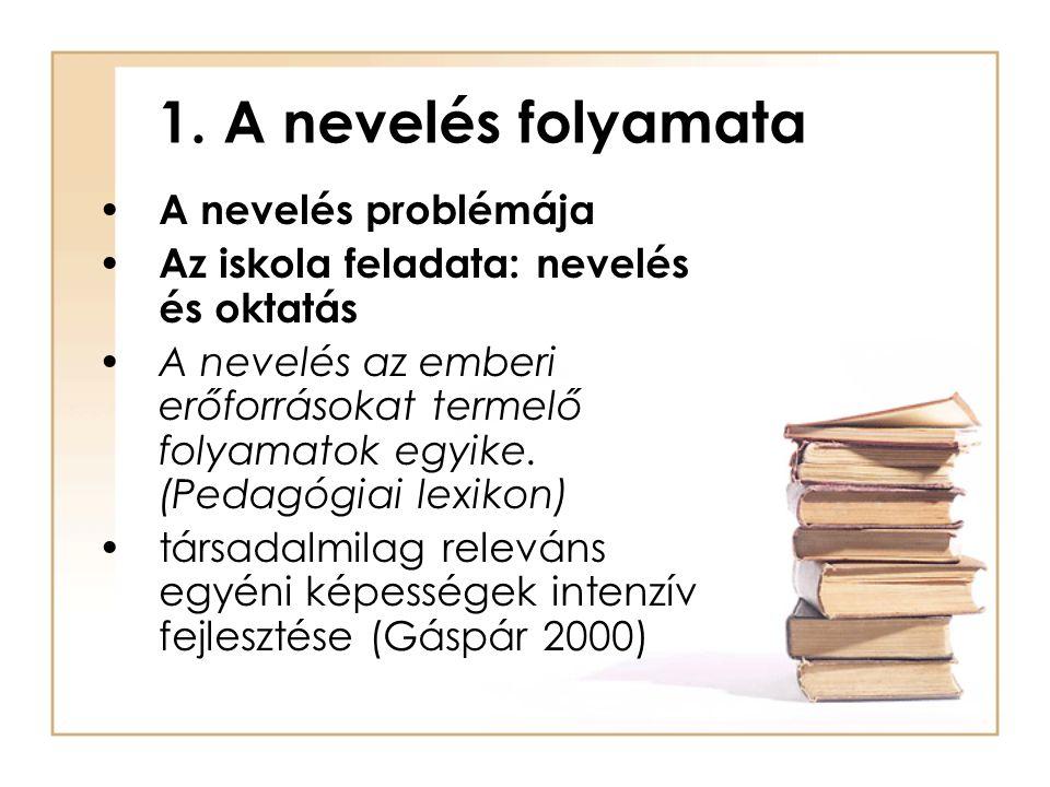 1. A nevelés folyamata A nevelés problémája