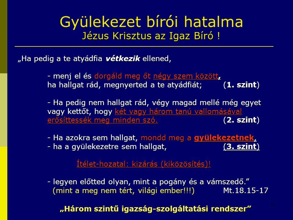 Gyülekezet bírói hatalma Jézus Krisztus az Igaz Bíró !