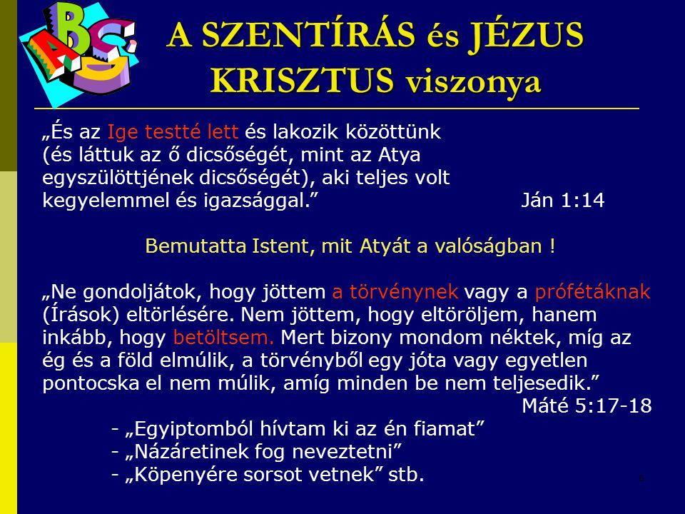 A SZENTÍRÁS és JÉZUS KRISZTUS viszonya