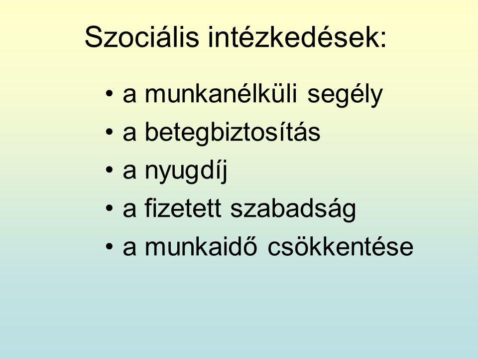 Szociális intézkedések: