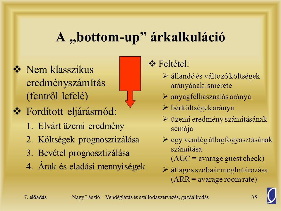 "A ""bottom-up árkalkuláció"