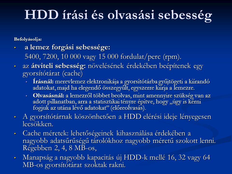 HDD írási és olvasási sebesség