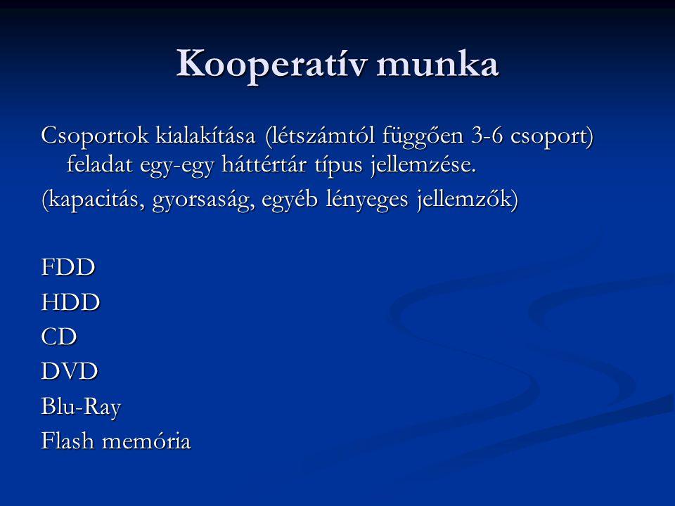 Kooperatív munka Csoportok kialakítása (létszámtól függően 3-6 csoport) feladat egy-egy háttértár típus jellemzése.