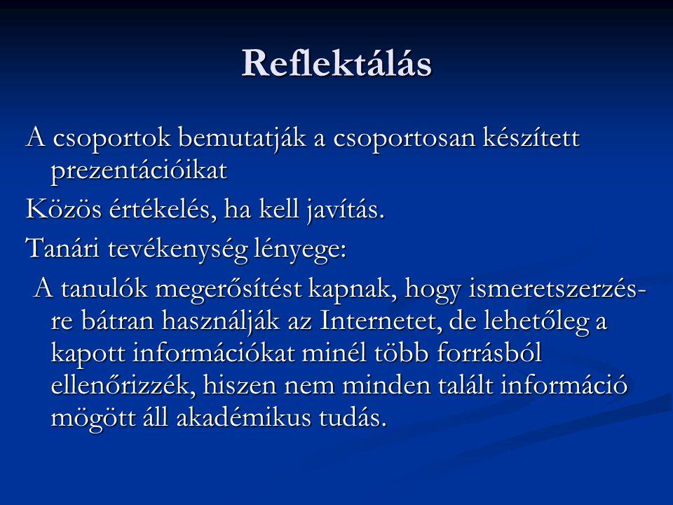 Reflektálás A csoportok bemutatják a csoportosan készített prezentációikat. Közös értékelés, ha kell javítás.