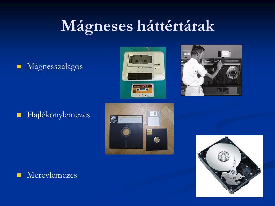 Mágneses háttértárak Mágnesszalagos Hajlékonylemezes Merevlemezes